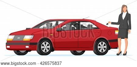 Passenger Car And Businesswoman Holding Key. Sedan And Woman. Modern City Car Isolated. Color Urban