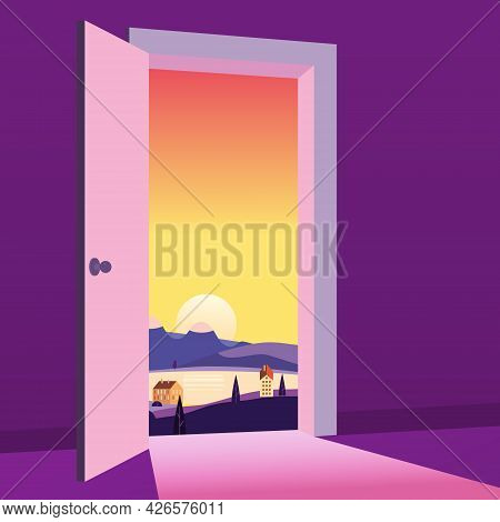 Open Door To Nature Way. Landscape Sunset Sea Town, Symbol Freedom, New Way Exit, Discovery, Opportu