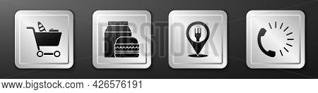 Set Shopping Cart And Food, Online Ordering And Burger Delivery, Cafe And Restaurant Location And Fo