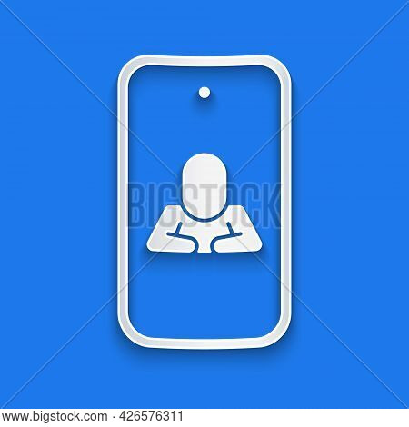 Paper Cut Online Psychological Counseling Distance Icon Isolated On Blue Background. Psychotherapy,