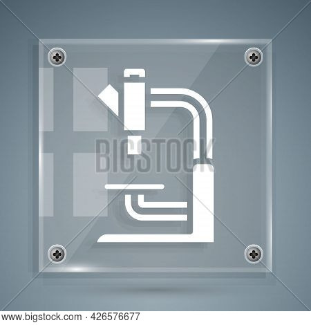 White Microscope Icon Isolated On Grey Background. Chemistry, Pharmaceutical Instrument, Microbiolog
