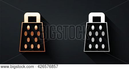 Gold And Silver Grater Icon Isolated On Black Background. Kitchen Symbol. Cooking Utensil. Cutlery S