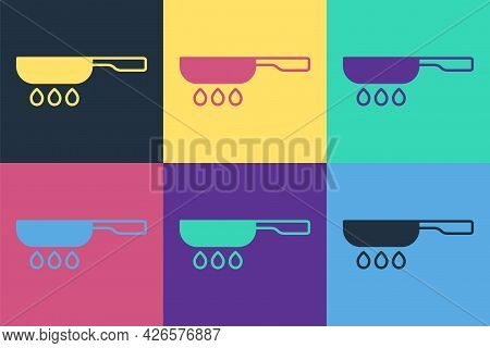 Pop Art Frying Pan Icon Isolated On Color Background. Fry Or Roast Food Symbol. Vector
