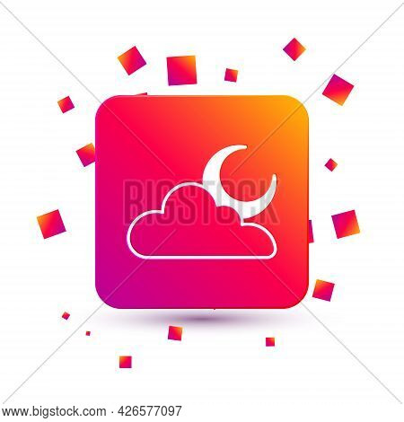 White Cloud With Moon Icon Isolated On White Background. Cloudy Night Sign. Sleep Dreams Symbol. Nig
