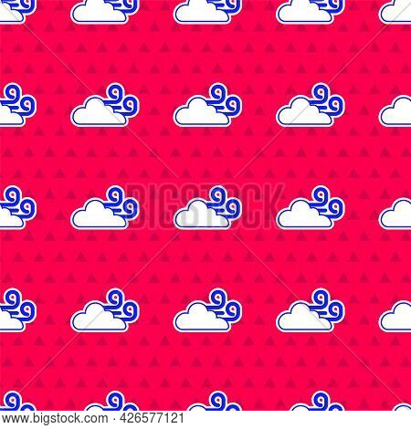 Blue Windy Weather Icon Isolated Seamless Pattern On Red Background. Cloud And Wind. Vector