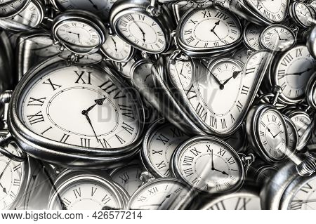 Droste Effect Background With Infinite Clock Spiral. Abstract Design For Concepts Related To Time An