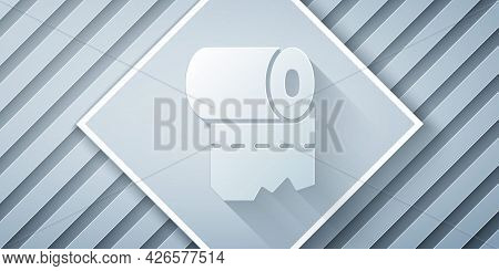 Paper Cut Toilet Paper Roll Icon Isolated On Grey Background. Paper Art Style. Vector