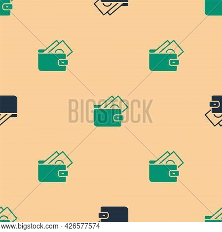 Green And Black Wallet With Stacks Paper Money Cash Icon Isolated Seamless Pattern On Beige Backgrou
