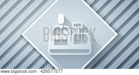 Paper Cut Cashier At Cash Register Supermarket Icon Isolated On Grey Background. Shop Assistant, Cas