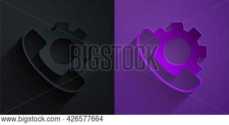 Paper Cut Telephone 24 Hours Support Icon Isolated On Black On Purple Background. All-day Customer S