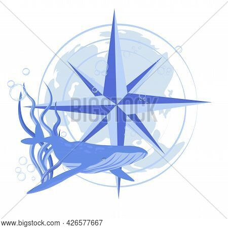 Whale And Compass Vector Stock Marine Illustration Of The Navy. The Wind Rose. The Ocean And Its Inh