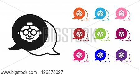 Black Grandmother Icon Isolated On White Background. Set Icons Colorful. Vector