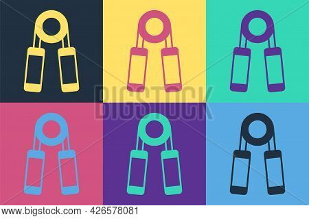 Pop Art Sport Expander Icon Isolated On Color Background. Sport Equipment. Vector