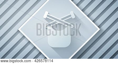 Paper Cut Knitting Icon Isolated On Grey Background. Wool Emblem With Knitted Fabric And Needle. Lab