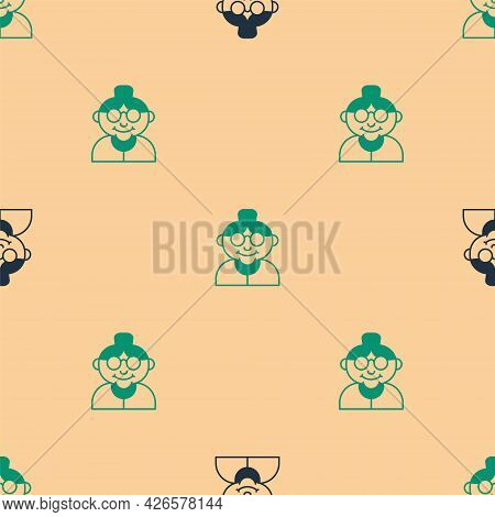 Green And Black Grandmother Icon Isolated Seamless Pattern On Beige Background. Vector