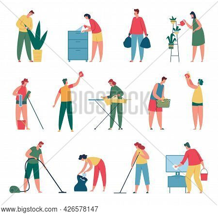 People Cleaning. Men And Women Doing Housework, Vacuuming Carpet, Washing Clothes, Watering Plant, M