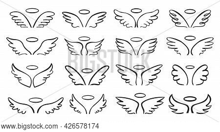 Sketch Wing. Pair Of Angel Wings With Halo. Cute Wide Open Angelic Wing Doodle, Flying Bird Feathers