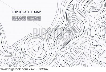 Topographic Map Contour. Geographic Mapping, Nature Terrain Relief, Mountain Topology. Cartography L