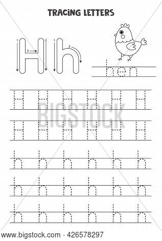 Tracing Letters Of English Alphabet. Black And White Worksheet.