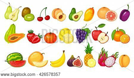 Cartoon Fruit Slices. Kiwi Dragon Fruit, Pomegranate Peach, Apple, Grape Mango, Lemon Watermelon Ora