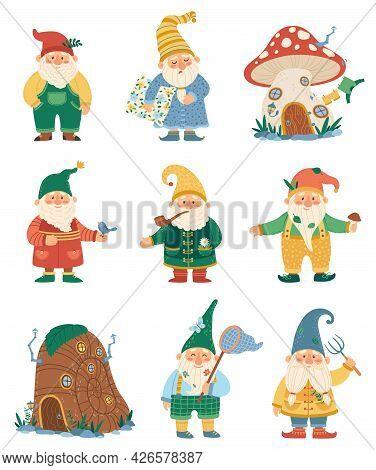 Garden Gnomes. Fairytale Dwarf Elves Characters And Their Houses. Cute Mushroom Elf House. Flat Cart
