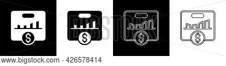 Set Kpi - Key Performance Indicator Icon Isolated On Black And White Background. Vector
