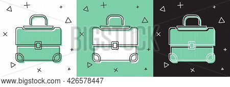 Set Briefcase Icon Isolated On White And Green, Black Background. Business Case Sign. Business Portf