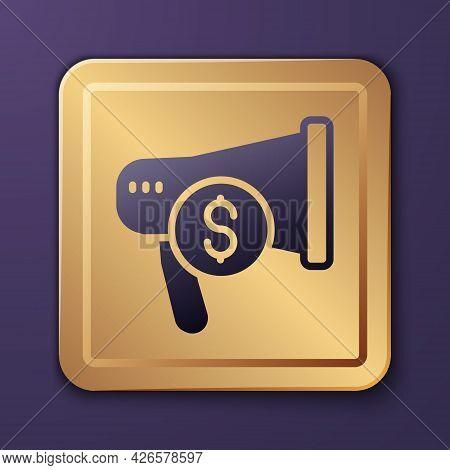 Purple Megaphone And Dollar Icon Isolated On Purple Background. Loud Speech Alert Concept. Bullhorn
