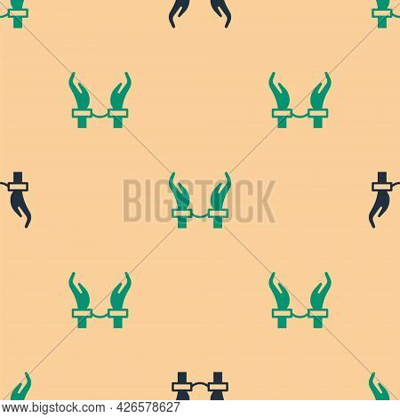 Green And Black Handcuffs On Hands Of Criminal Man Icon Isolated Seamless Pattern On Beige Backgroun