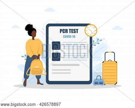 Woman With Pcr Test. New Normal For Travel. Healthy African Girl With Bagpack Ready To Fly. Covid-19