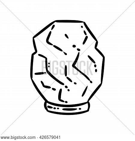 Himalayan Salt Lamp Doodle Image. Spiritual Magic Salt Crystal Logo. Cute Cartoon Media Highlights G