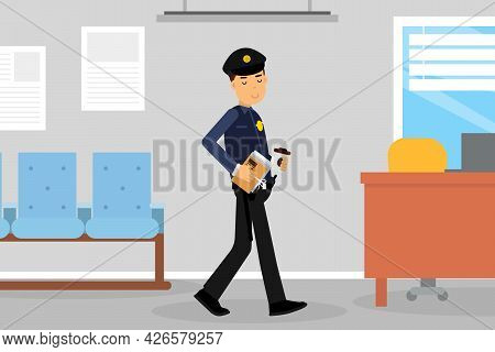 Man Police Officer Or Policeman With Truncheon Holding Coffee Cup Having Lunch Break Vector Illustra