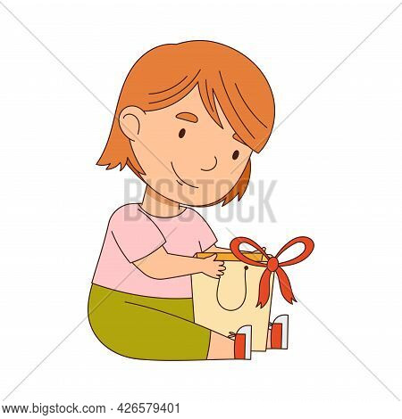 Excited Little Girl Opening Gift Rejoicing At Present Vector Illustration