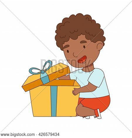 African American Boy Opening Gift Box Rejoicing At Present Vector Illustration