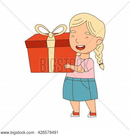 Blond Little Girl Holding Gift Box As Holiday Present Vector Illustration