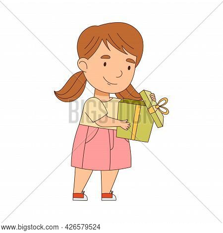 Little Girl With Ponytails Holding Gift Box As Holiday Present Vector Illustration