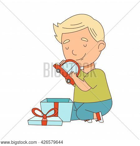 Blond Little Boy Opening Gift Box With Toy Car As Holiday Present Vector Illustration