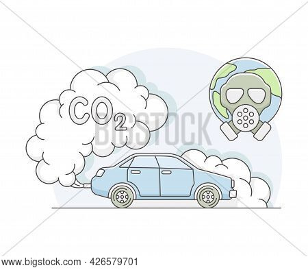 Motor Vehicle With Carbon Dioxide Emission As Resource For Human Need Line Vector Illustration