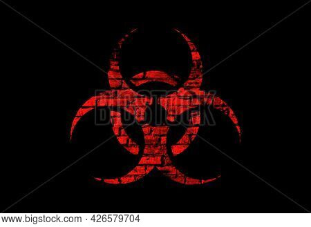 Illustration Of A Red Biohazard Symbol With A Brick Texture On A Black Background.