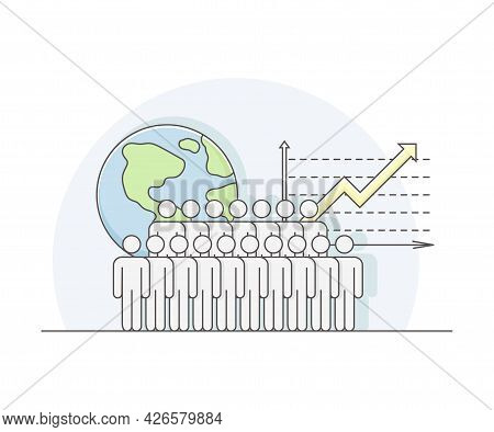 World Human Resources As Workforce Of Business Sector Or Economy With Growth Chart And Globe Line Ve
