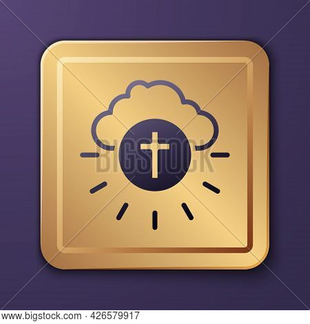 Purple Religious Cross In The Circle Icon Isolated On Purple Background. Love Of God, Catholic And C