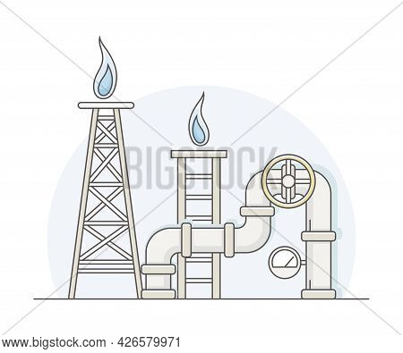 Natural Gas Or Fossil Fuel As Energy Source Line Vector Illustration