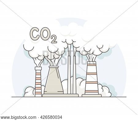 World Resource With Nuclear Power Plant Or Thermal Power Station With Steam Turbine Line Vector Illu