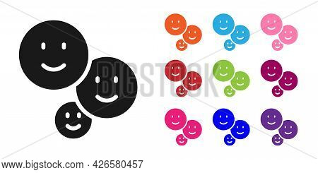 Black Happy Friendship Day Icon Isolated On White Background. Everlasting Friendship Concept. Set Ic