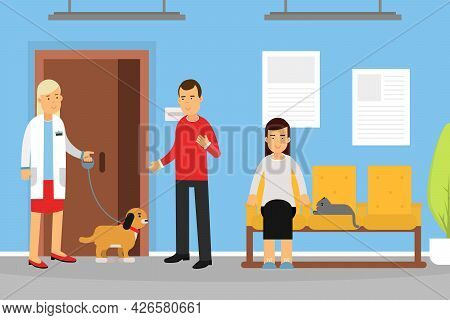 Veterinary Clinic And Medicine With Woman Veterinarian Engaged In Diagnosis And Treatment Of Animal