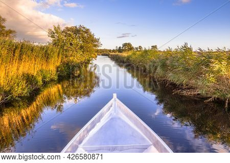 Aluminum Boat Stern. Boat Trip In Nature Reserve Weerribben In The Netherlands.