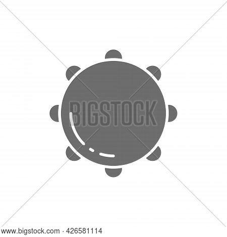 Tambourine, Timbrel, Percussion, Musical Instrument Grey Icon.