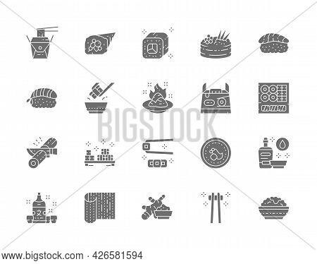 Set Of Japanese Food And Sushi Gray Icons. Philadelphia Roll, Ginger, Temaki, Nigiri, Wasabi, Soy Sa