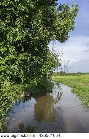 Waterways Man-made To Suply Rice Fields With Water For Crop Production Making Small Nature Reserves