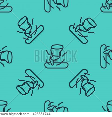 Black Line Tornado Icon Isolated Seamless Pattern On Green Background. Cyclone, Whirlwind, Storm Fun